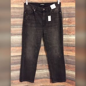 Express distressed ankle straight high rise jeans